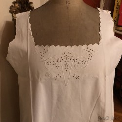 Old nightgown | M C cotton monogram | embroidered | White