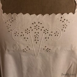 Old nightgown   M C cotton monogram   embroidered   White