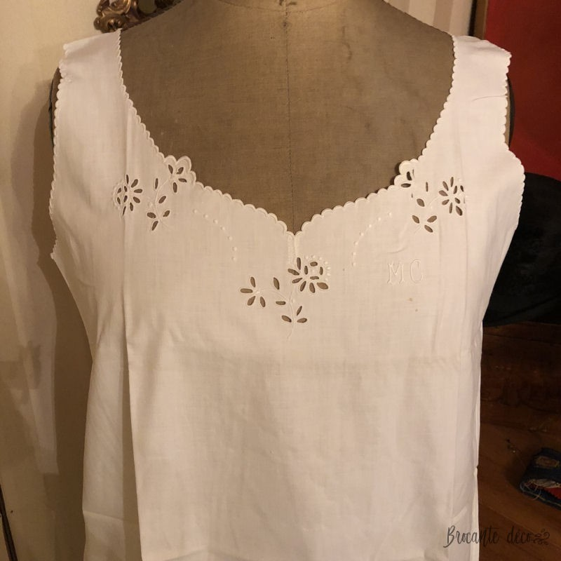 Old nightgown   Embroidered   M C cotton monogram   White