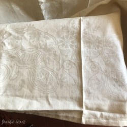 Large old damask tablecloth   Ocher color