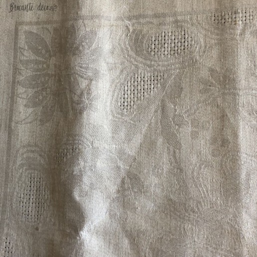 Large old damask tablecloth | Ocher color