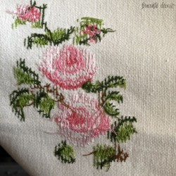 Old hand-embroidered tablecloth   Pattern of roses