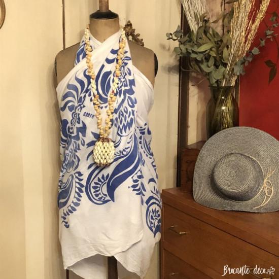 Collier vintage Tahitien en coquillages  Gros pendentif   Artisanal