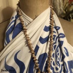 Tahitian shell necklace | Large round medallion | Vintage
