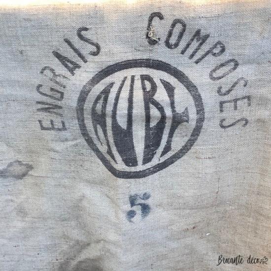 Ancien sac en toile de jute   Engrais Auby