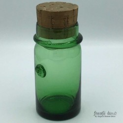 Green blown glass jar
