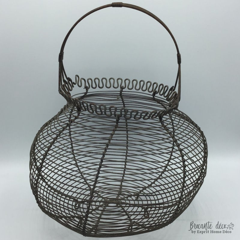 Very old wrought iron egg basket