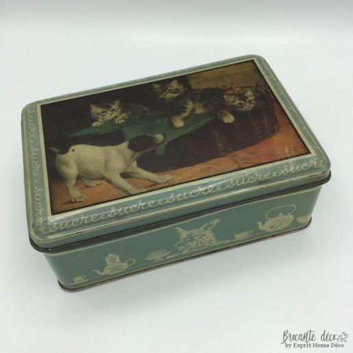 Ancienne boîte à confiseries, biscuits|Vintage en métal décor animalier