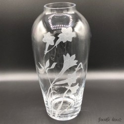 Grand vase en verre transparent décor de jonquilles ❀