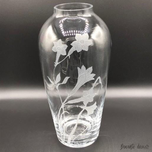 Grand vase en verre transparent décor de jonquilles ❀