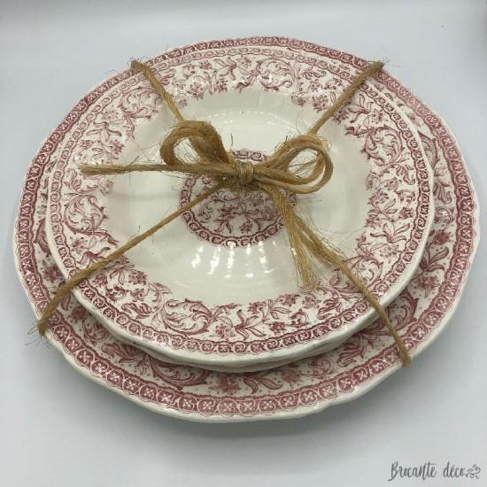 ♔ Set of 1 dish and 3 plates Gien france model Delft♔