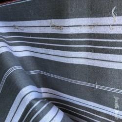 Ancienne toile à matelas | Grise rayée blanche | 4 m X 1,37 m