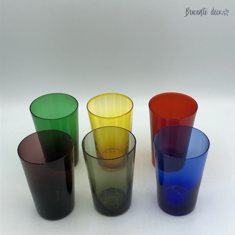 Lot of 6 glasses year 50 - Multicolor - Vintage