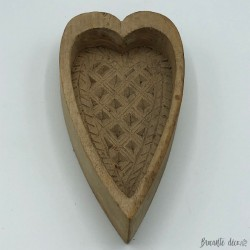 Old wooden butter mold - heart shape