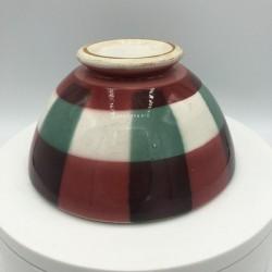 Ancien bol motif torchon | Rouge, blanc et vert
