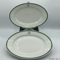 Lot of 2 old oval dishes | Monogram M.Q | Napoleon 3