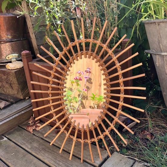 ☼ Ancien miroir soleil en rotin   vintage   Ovale   Décoration murale