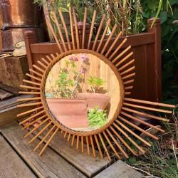 ☼ Ancien miroir soleil | vintage | En rotin | Décoration murale