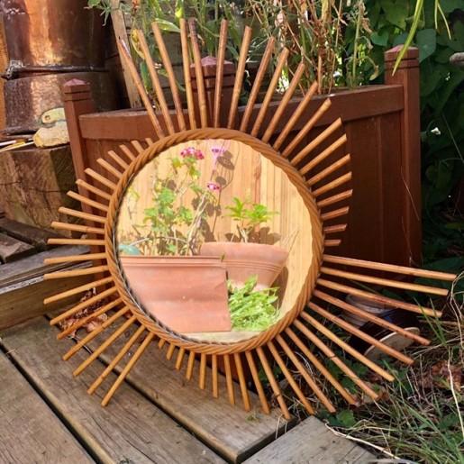 ☼ Ancien miroir soleil   vintage   En rotin   Décoration murale