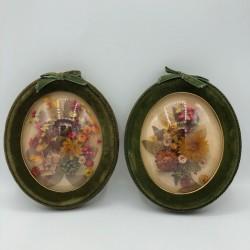 Paire de petits cadres fleurs séchées | Verres bombés | Kitsch