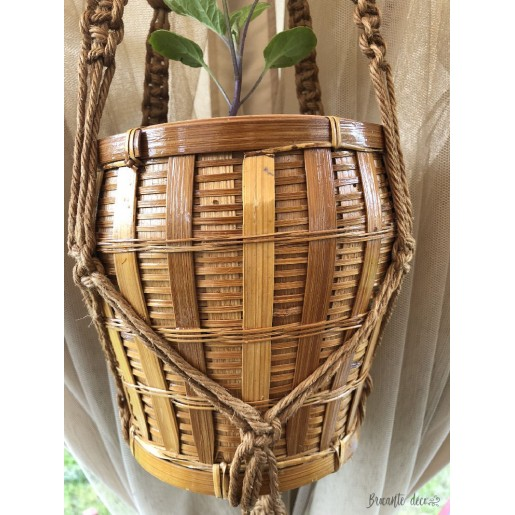 Macrame pendant and vintage rattan pot cover