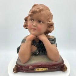 Ancien buste en plâtre fillette | Rêverie | 563 | Décoration