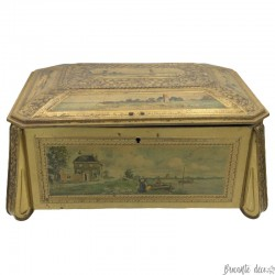 Old and large lithographed tin box | Landscape decors