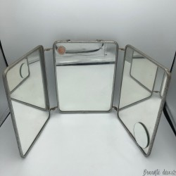 Old barber's triptych mirror | Folding mirror 50s