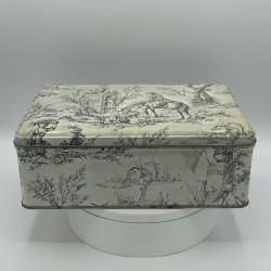 Ancienne boîte en tôle lithographiée | Décor style toile de Jouy