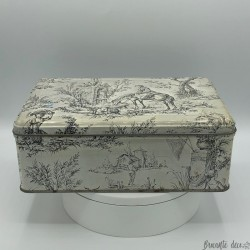 Old lithographed tin box | Toile de Jouy style decor