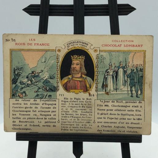 Anciennes cartes publicitaires à collectionner   Chocolat Lombart   Les rois de France