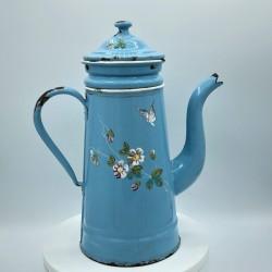 Ancienne cafetière émaillée en relief | Bleue | Décor papillons et fleurs