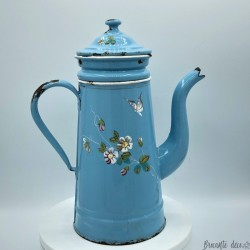 Old enamelled coffee maker in relief | Blue | Butterflies and flowers decor