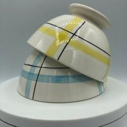 Lot de 2 bols motif torchon | Bleu et jaune | Collection bols anciens