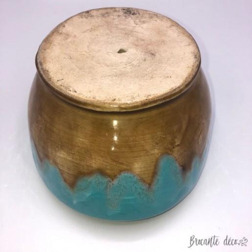 cache pot en grès vernissé couleur turquoise et  marron clair
