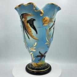 Monaco Cerdazur 150 HB blue vase, fish decor | Vintage