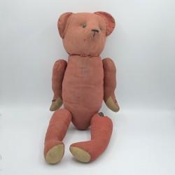 Ancien ours en tissus  rouge | Attaches boutons | Rembourrage paille