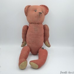 Old red cloth bear | Fasten buttons | Straw padding