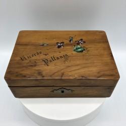 Boîte ou coffret en bois | Ancienne | Souvenirs | Décor de Violettes