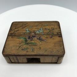 Ancienne petite boîte porte montre à gousset | En bois | Décor Violettes et fleurs bleues