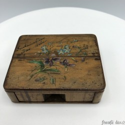 Old small pocket watch box | In wood | Decor Violets and blue flowers