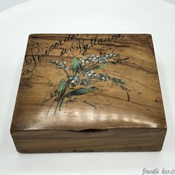 Old small stamp box | In wood | Blue flowers decor