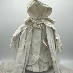 Ancien ensemble blanc pour Poupée Jumeau | Cape, bonnet et robe