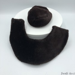 Ensemble chapeau et col ancien de poupée Jumeau | Marron | Circa 1890