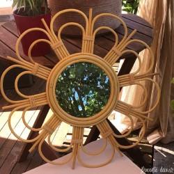 Vintage style rattan sun mirror