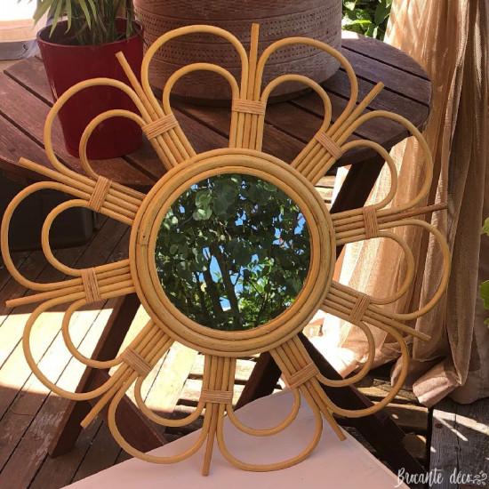 Miroir soleil en rotin de style vintage