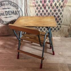 Ancien petit bureau à tiroir et sa chaise assortie | Pour enfant | En bois