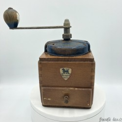 Old coffee grinder | Peugeot Brothers | In wood | Blue