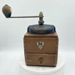 Old coffee grinder | Peugeot Brothers | In wood | Blue