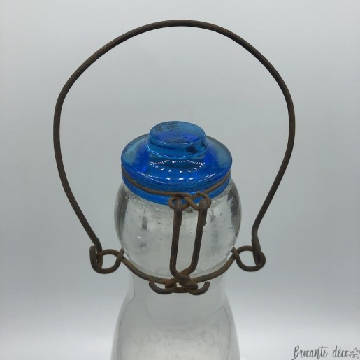 Old glass milk bottle | Blue glass stopper | Deco collection